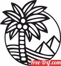 download Pyramids With Palm Trees clipart free ready for cut