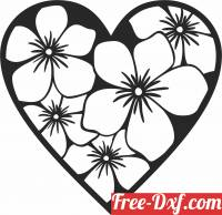 download Heart flowers wall decor free ready for cut