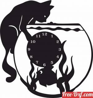 download Aquarium cat lovers wall vinyl clock free ready for cut