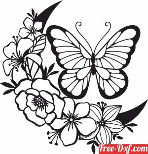 download butterfly floral vector art free ready for cut