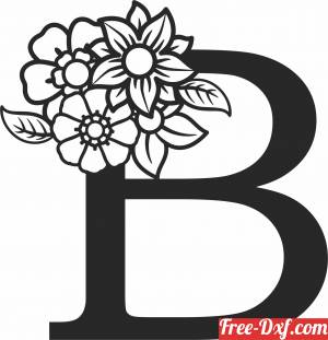 download Monogram Letter B with flowers free ready for cut