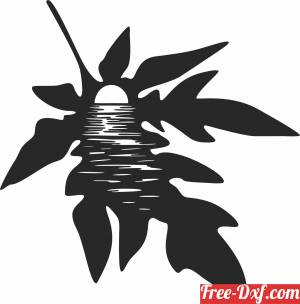 download Sunset leaf scene free ready for cut