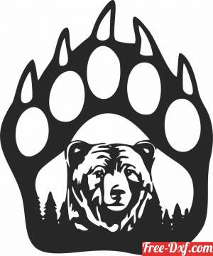 download Bear paw scene free ready for cut