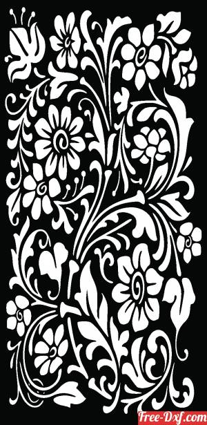 download Floral decorative wall screen panel pattern door free ready for cut
