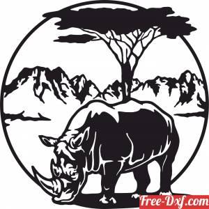 download Rhinoceros scene clipart design free ready for cut