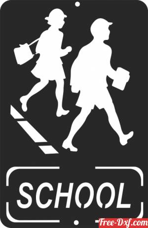 download school warning sign free ready for cut