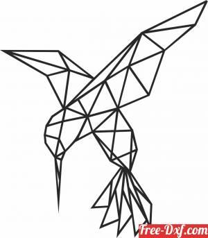 download Geometric Polygon Hummingbird free ready for cut