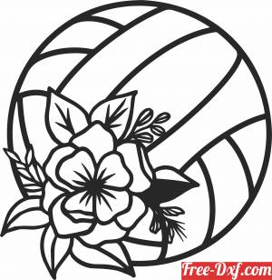 download floral Volleyball clipart free ready for cut