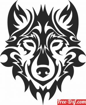 download tribal wolf face free ready for cut