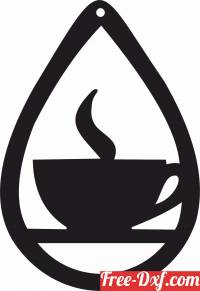 download Cup of Coffee Silhouette ornament sign free ready for cut
