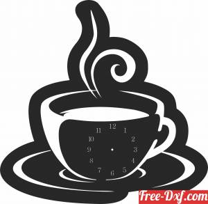 download coffe cup Wall Clock free ready for cut