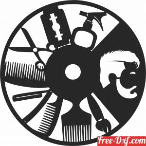 download barber shop Wall Clock free ready for cut