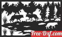 download wolves scene forest art free ready for cut