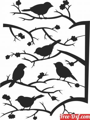 download birds on branche tree stakes free ready for cut