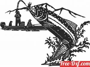 download Fish fishing scene clipart free ready for cut