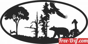 download bear eagle scene forest art free ready for cut