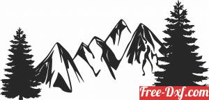 download Mountain trees scene free ready for cut