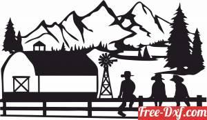 download Farm Scene Cowboy mountain scenery free ready for cut