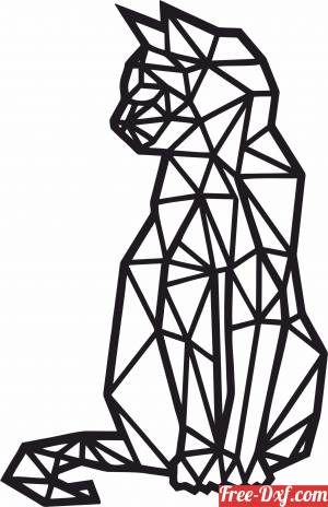 download Cat Polygon Art Wall geometric free ready for cut