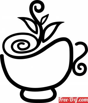 download floral coffe cup art free ready for cut