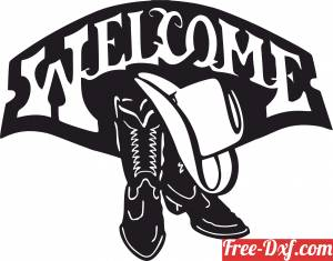 download Western Boots Welcome Sign free ready for cut