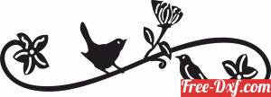download Birds Stands On A flower Branch free ready for cut
