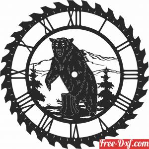 download bear sceen saw wall clock free ready for cut