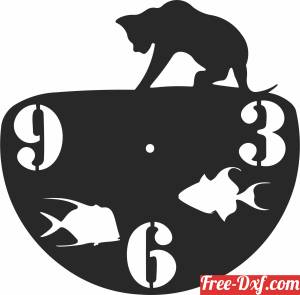 download cat with fishs wall vinyl clock free ready for cut