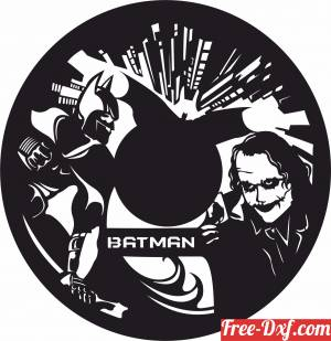 download BATMAN AND JOKER vinyl clock free ready for cut