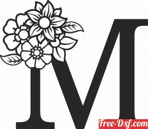 download Monogram Letter M with flowers free ready for cut