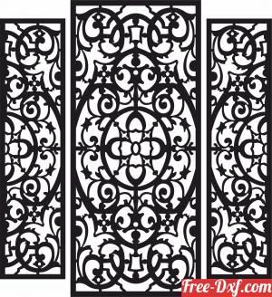 download 3 pieces panels wall screen door patterns door free ready for cut