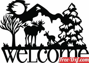 download welcome scene sign buck free ready for cut
