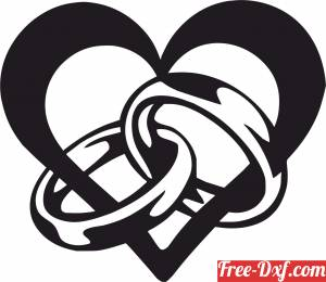 download Heart love sign with rings free ready for cut