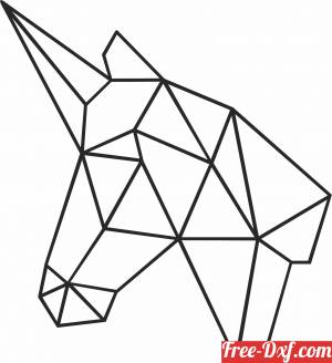 download Geometric Polygon horn horse free ready for cut