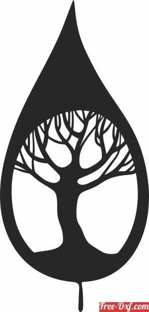 download Leaf with tree inside wall decor free ready for cut
