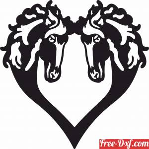 download Heart Horse Heads Design free ready for cut