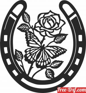download Horse shoe with flower free ready for cut