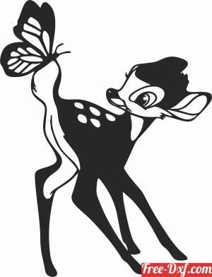 download Deer with butterfly wall decor free ready for cut