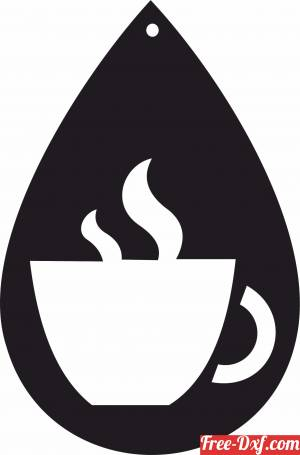 download Coffee Cup Silhouette ornament sign free ready for cut