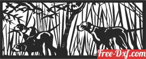 download hunting dogs scene forest art free ready for cut