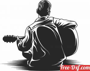 download man playing guitar clipart free ready for cut