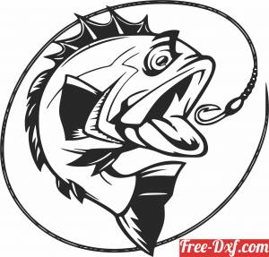 download Bass Fish fishing scene clipart free ready for cut