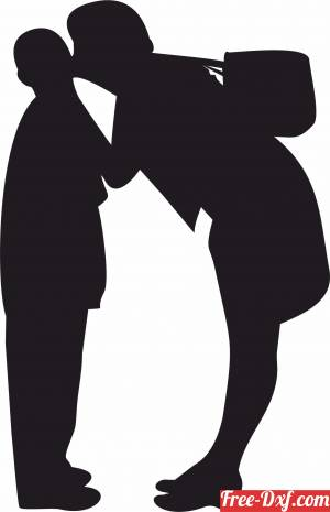 download family silhouette Mother kiss her son free ready for cut