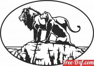 download Lion and Lioness Silhouette scene free ready for cut
