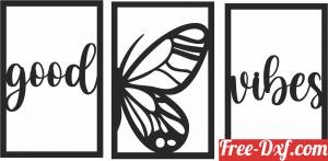download good vibes butterfly panels free ready for cut