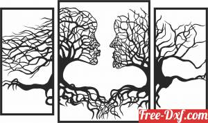 download Tree Couple Face Shape panels free ready for cut