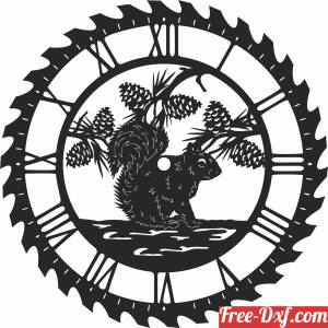download squirrel sceen saw wall clock free ready for cut