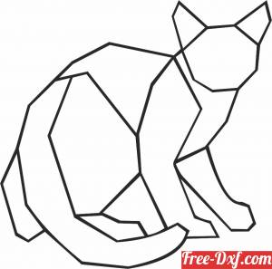 download Geometric Polygon cat free ready for cut