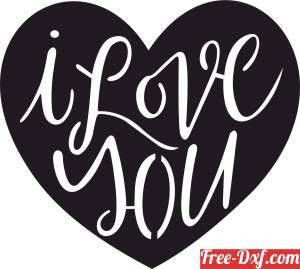 download I love you Heart Sign valentine free ready for cut