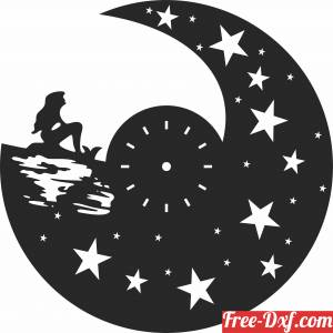 download The Little Mermaid Wall Clock free ready for cut